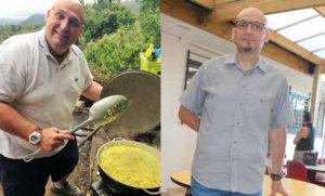 Stéphane Grandidier, avant et après son opération. En deux ans, il a perdu 76 kilos.